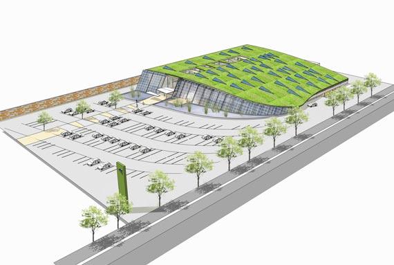 Im Rahmen des EcoCommercial Building Programms ist eine Studie für einen nachhaltigen Supermarkt entstanden, mit einem 75 Prozent geringerem Energieverbrauch als ein herkömmlicher Supermarkt gleicher Größe.