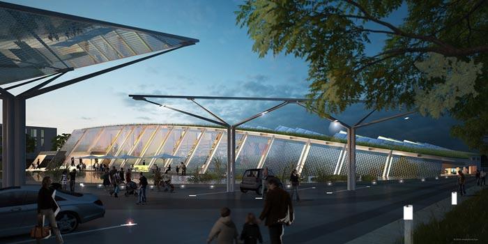 Markant ist die Fassade mit seiner Photovoltaik-Verkleidung, auch das begrünte Dach macht das Thema Nachhaltigkeit von Weitem sichtbar.