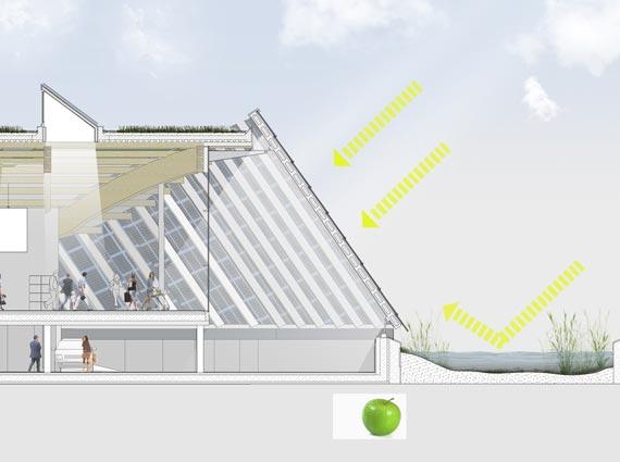 Durch die Reflektion der Sonneneinstrahlung auf dem vorgelagerten Wassergürtel wird die Effizienz der Photovoltaikanlage auf der Eingangsfront noch erhöht.