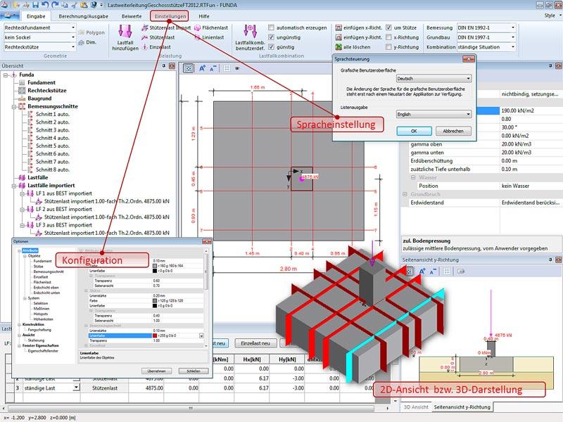 FUNDA - Statikprogramm für Stahlbetonfundamente von RIB