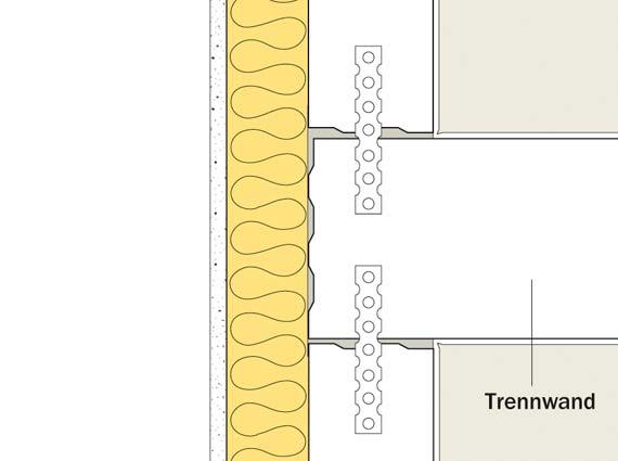 Sichere Ausführung bei flankierenden Bauteilen wie z.B. dem Bereich der Außenwand: Trennwand durchgehend, flankierende Bauteile stumpf angeschlossen. Bild: Unika