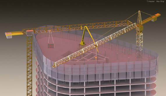 Virtuelle Baustelle mit Kränen, Betonverteiler, Wind- und Absturzschutz