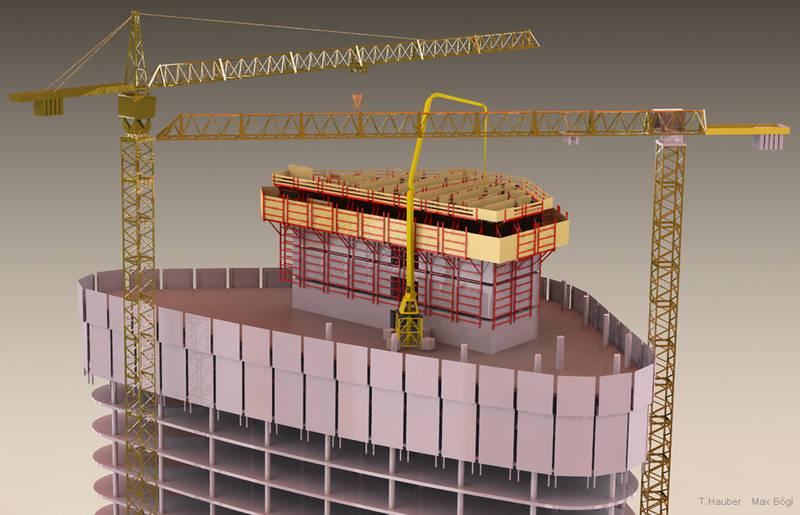 Virtuelle Baustelle eines Hochhauses mit Arbeitsbühnen und Baumaschinen