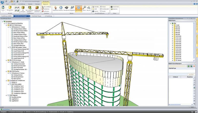 Darstellung und Kalkulation der Baustelle und der Baumaschinen in »RIB iTWO«