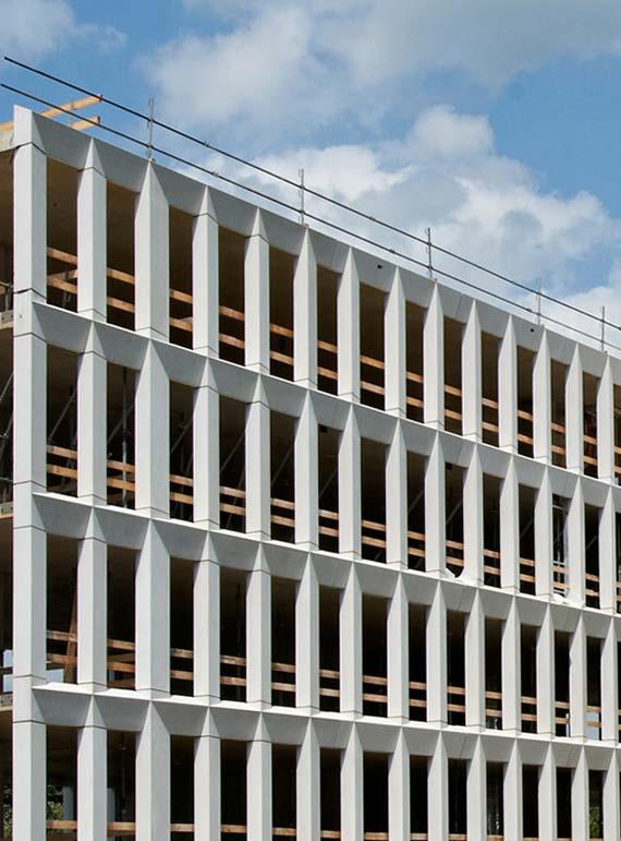 Fassadenansicht während der Bauarbeiten. Foto: Hübl / Ed. Züblin AG