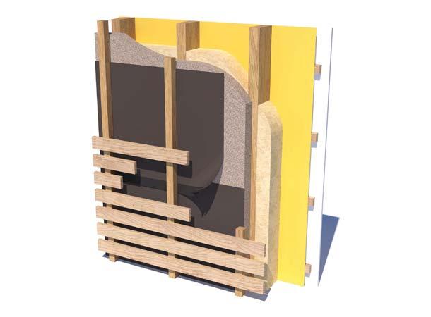 Höchstmögliche UV-Belastung an Holzfassade mit sichtbarer schwarzer Fassadenbahn. Abbildungen: Fiberweb/Climat