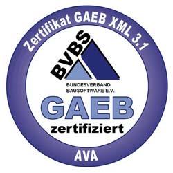 Der Bundesverband Bausoftware e.V. (BVBS) zertifiziert in Zusammenarbeit mit dem Gemeinsamen Ausschuss für Elektronik im Bauwesen (GAEB) Software für die Bereiche AVA und Bauausführung