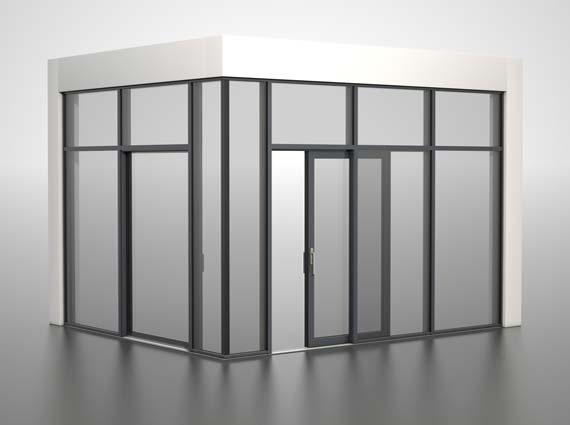 So aufgebaut wird Finstral sein verbessertes Hebeschiebetür-Fensterwand-System auf der Messe BAU 2013 am Stand 508 in Halle B4 präsentieren