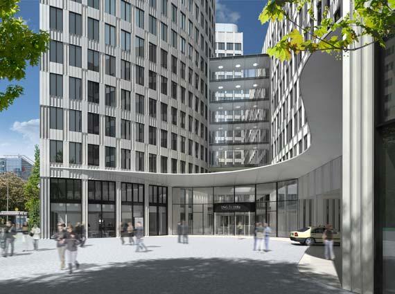 Für die Fassade des sanierten Gebäudes kommt hochfester Beton zum Einsatz. Bild: Deka Immobilien Investment GmbH