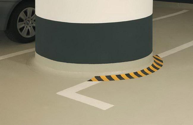 Auch die aufgehenden Bauteile, wie Stützen, wurden in der  Tiefgarage des Bundesministeriums beschichtet. Foto: Sika Deutschland GmbH