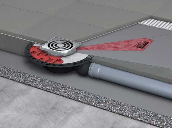 Zertifizierter Fußbodenaufbau mit einem Punktablauf mit Seal System Dichtmanschette. Sie dichtet im Verbund mit den beiden Dichtschlämme-Aufträgen den Bereich um den Edelstahlflansch der Rinne sicher ab.