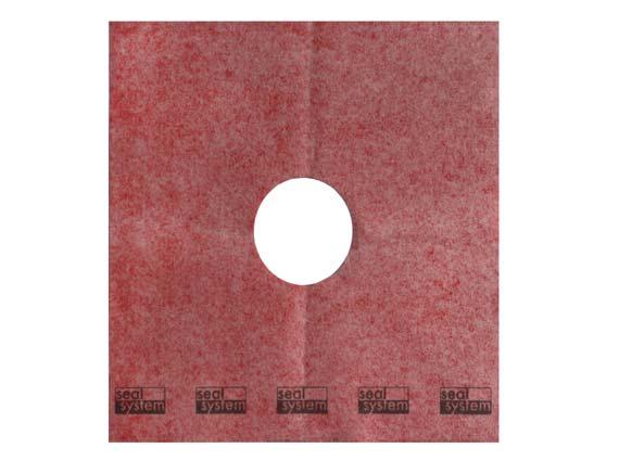 Die Seal System Dichtmanschette für den zertifizierten Punktablauf. Sie wird in die noch feuchte erste Schicht der Verbundabdichtung eingelegt und dann nochmals mit einer Schicht überstrichen: garantiert dicht!