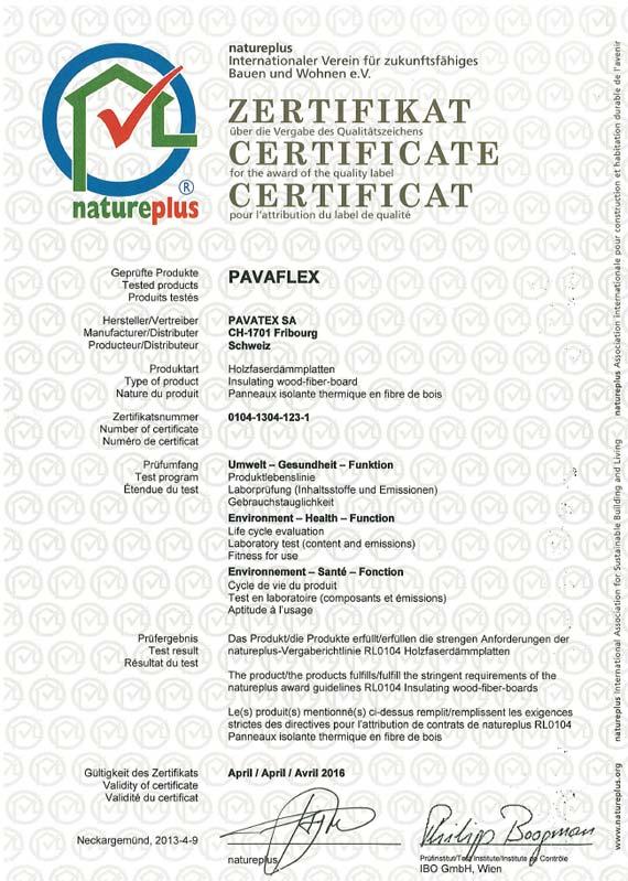 PAVAFLEX, der flexible Holzfaserdämmstoff, erfüllt die strengen Richtlinien von Natureplus, dem internationalen Verein für zukunftsfähiges Bauen