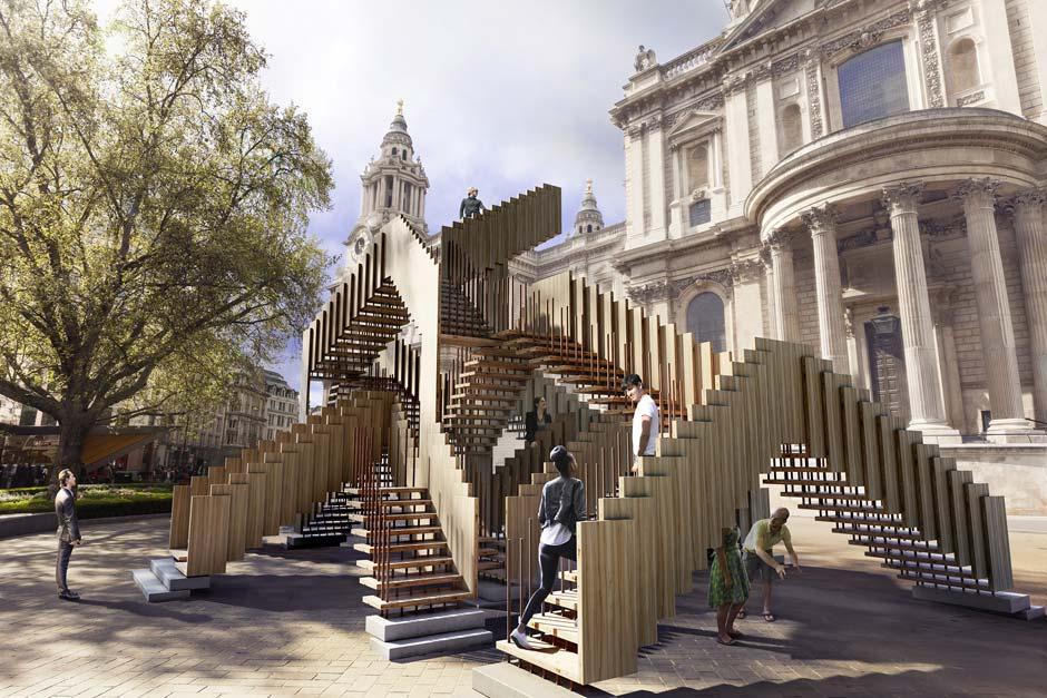 dRMM Architects und AHEC präsentieren begehbare Laubholz-Skulptur auf dem London Design Festival. Bild: Cityscape