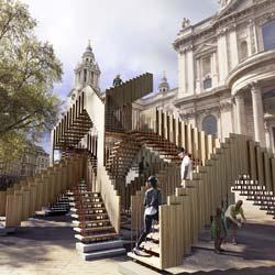 """dRMM Architects und AHEC präsentieren auf dem London Design Festival vom 14. bis 22. September 2013 die Skulptur """"Endless Stair"""" aus amerikanischem Tulipwood"""