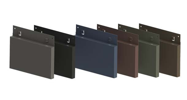 Neucad Kassettensystem (Standard) in den sechs vorbewitterten Oberflächenqualitäten von VMZINC: Quartz-Zinc, Anthra-Zinc sowie PIGMENTO blau, rot, grün und braun.