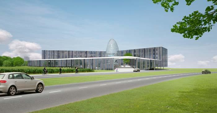 Das klimaneutrale Gebäude gewinnt seine Energien zu 70 Prozent aus Geothermie sowie zu 30 Prozent aus Solarenergie. Der erforderliche Strombedarf für die Bürogeräte von rund 200 MWh pro Jahr kann optional durch Windenergie gedeckt werden. Bild: Bayer Material Science AG