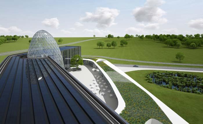 Die Photovoltaik-Paneele auf dem Dach erzeugen jährlich 120 MWh Strom. Zusammen mit den Photovoltaik-Fassadenelementen decken sie den gesamten Jahresbedarf von186 MWh zum Heizen, Kühlen, für die Lüftung und das Licht. Bild: Bayer Material Science AG