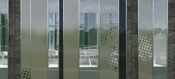 Nachhaltiges Fassadenkonzept: Der Wechsel von offenen und geschlossene Elementen sowie mit Siebdruck versehenen Glaspaneelen ermöglicht ein ausgewogenes Verhältnis zwischen Transparenz und Sonnenschutz. In den nach Süden gerichteten Fassaden sind zusätzlich Photovoltaik-Elemente integriert. Bild: Bayer Material Science AG