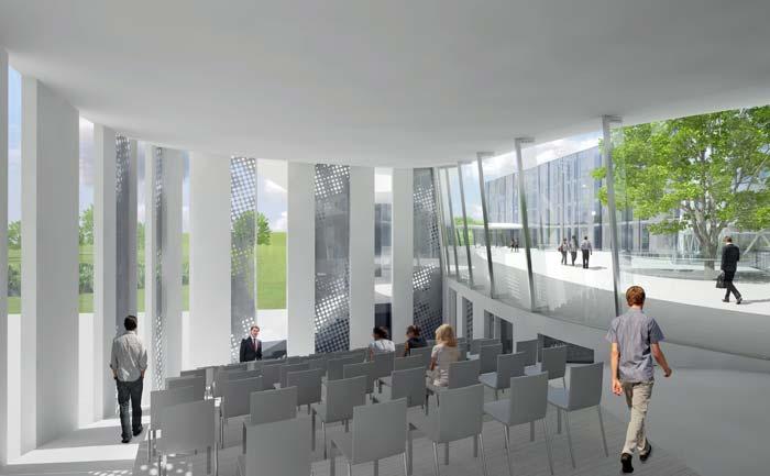 Bodentiefe Polycarbonat-Verscheibungen lassen viel Licht ins Auditorium. Bild: Bayer Material Science AG