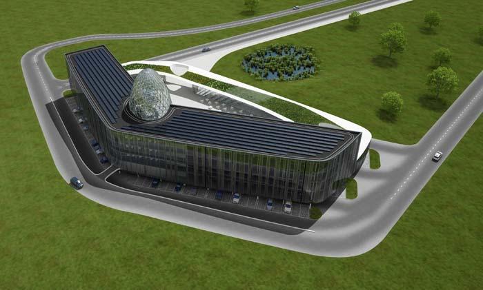 Im großen Hauptgebäude befinden sich auf 5.750 m² und drei Stockwerken flexible Büroeinheiten für etwa 400 Personen und mehrere Konferenzräume. Bild: Bayer Material Science AG