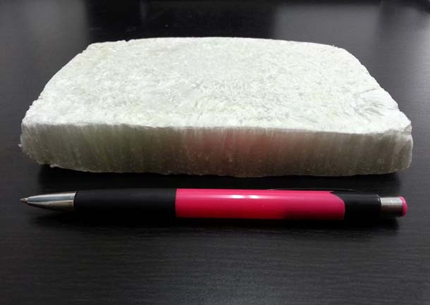 Produktmuster: Dämmplatte aus nanokristalliner Cellulose (NCC). Foto: Melodea Ltd.