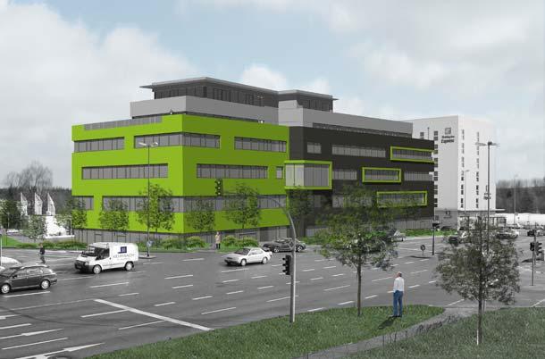 Mit der auffälligen Fassade ist das neue Business Center in Schwabachs Gewerbepark West schon von Weitem erkennbar. Bereits vor Fertigstellung des Neubaus waren alle Einheiten vermietet. Foto: AEG Haustechnik