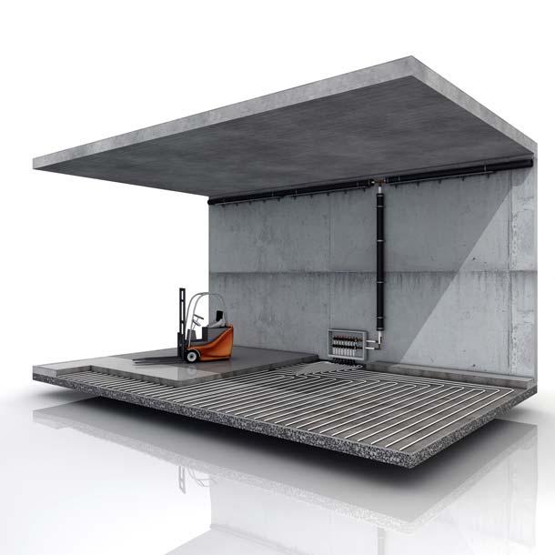 Der Primärenergiebedarf der Industriehalle lässt sich durch eine Sole-Wasser-Wärmepumpe in Kombination mit einer bauteilintegrierten Fußbodenheizung um 25 Prozent senken. Fotos: Uponor, Stiebel Eltron
