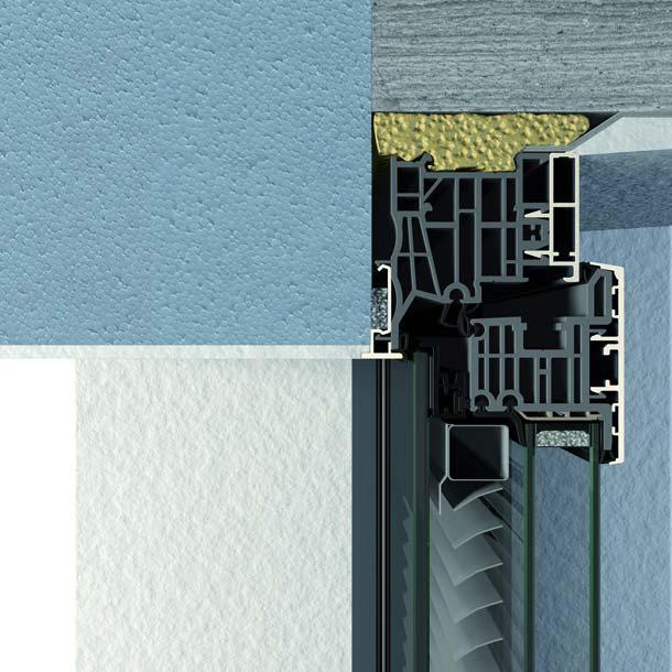 Mit dem Verbundfenster »Twin-line Nova« mit integriertem Sonnenschutz aus dem Aluminiumsystem »FIN-Project« lassen sich rahmenlose Übergänge vom Glas zum Mauerwerk auch für Drehkipp-Fenster realisieren.