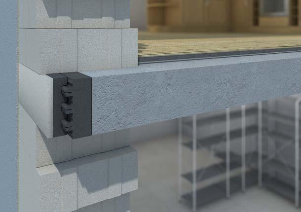 Auf einem Porit Porenbetonstein ist eine 40 Millimeter dicke Dämmschalung aus »EPS Neopor« aufgeklebt. Eine zweite Ausgleichsdämmschicht, ebenfalls aus »EPS Neopor«, ist mittels einer speziellen Profilierung mit der verklebten Dämmschalung verbunden.