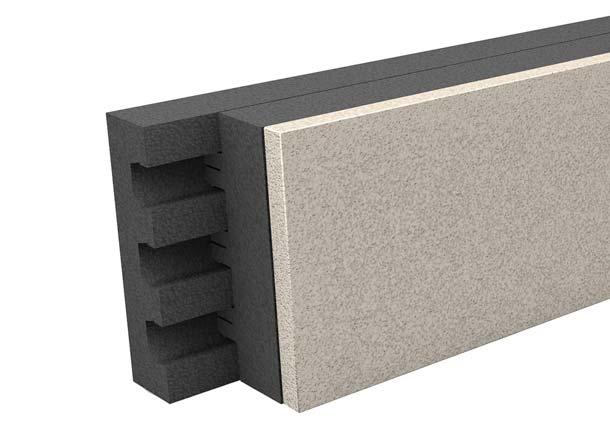 Die Kombination aus »Porit Porenbeton« und dem hochwärmedämmenden »EPS Neopor« ermöglicht den wärmebrückenfreien Übergang von Geschossdecken zum Außenmauerwerk.