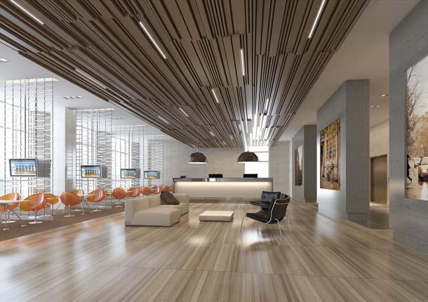 Deckenverkleidung mit »Busy-Effekt«: Durch verschiedene Kombinationen können Architekten unterschiedlichste Effekte erzeugen. Hier wurde ein extravaganter und lebendiger Effekt geschaffen.