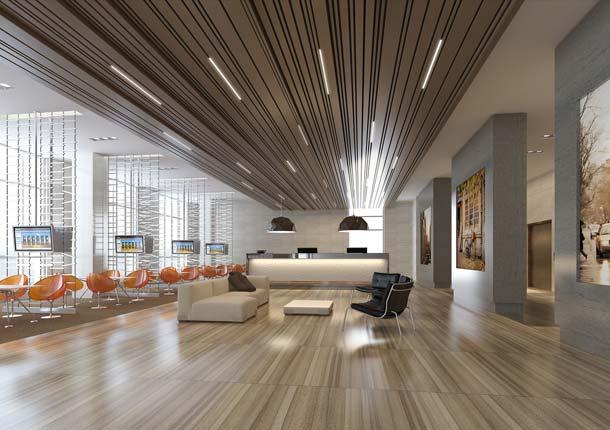 Deckenverkleidung mit »Calm-Effekt«: Hier hat der Architekt die Variationen bewusst minimiert. Dadurch wurde ein ruhig wirkendes Design geschaffen.
