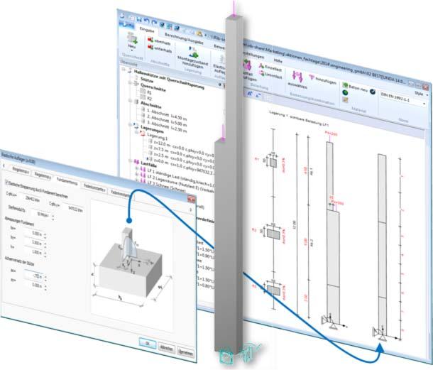 Stützenbemessung mit BEST mit elastischer Fundamenteinspannung