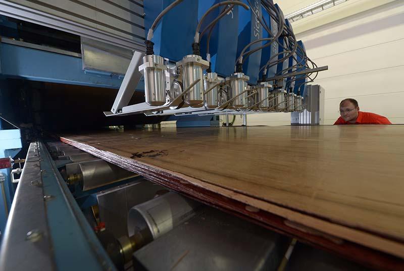 Frisch gepresste Baubuche. Das Schichtholz aus Buche verlässt die Furnierpresse. Foto: Ulrich Koch