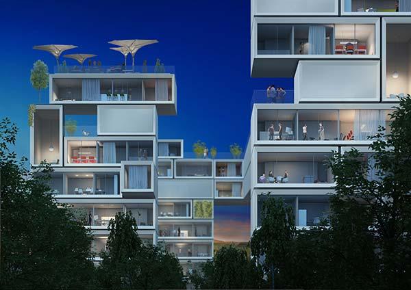 """So könnte die """"elektrische Stadt"""" aussehen. Die Gebäude produzieren allesamt mehr Strom als sie selbst brauchen. (Rendering: Werner Sobek)"""