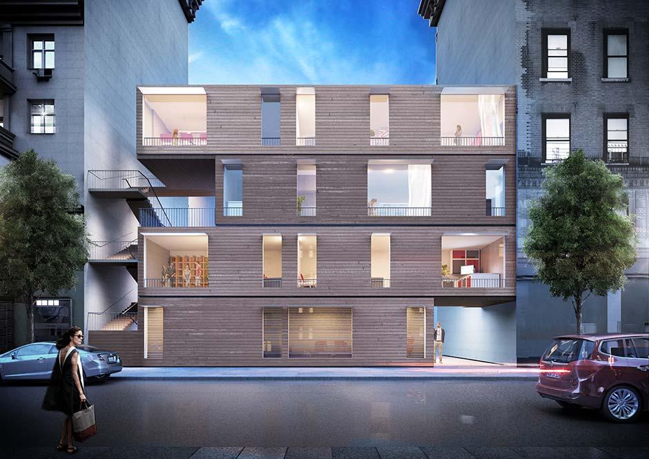 Das von Werner Sobek entwickelte Aktivhauskonzept ist ein Beispiel dafür, wie sich Adaptivität in die gebaute Umwelt integrieren lässt – auch in hoch verdichteten Ballungsräumen ist es denkbar, Baulücken zu nutzen, um an dieser Stelle ein mehrgeschossiges, in modularer Bauweise gefertigtes Gebäude zu errichten. Das Ziel ist es, den Ressoucenverbrauch im Bauwesen signifikant zu verringern. Foto: Werner Sobek