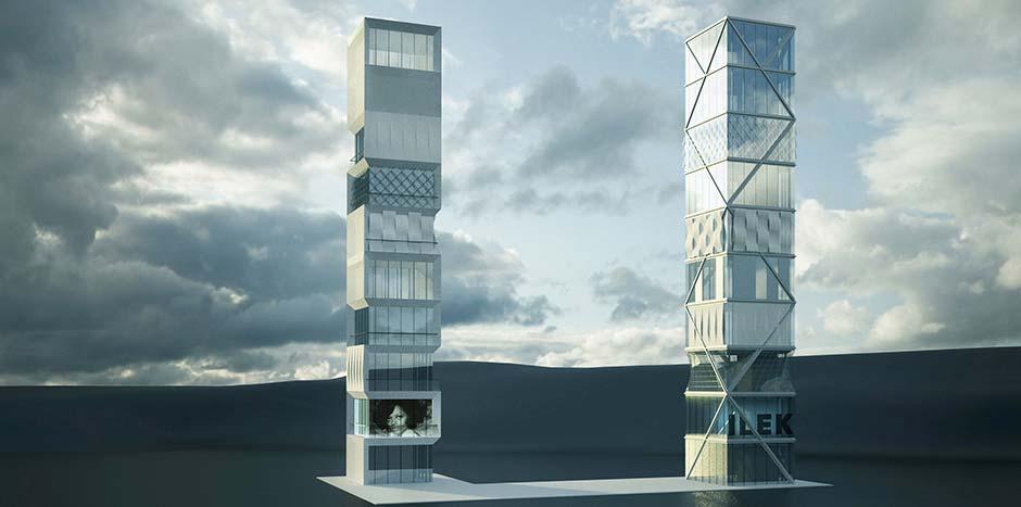 Auf dem Institutsgelände des ILEK der Universität Stuttgart wird ein 10-geschossiges Hochhaus errichtet, mithilfe dessen adaptive Fassaden und Tragwerke auf ihre praktische Anwendbarkeit überprüft werden sollen. Foto: Institut für Leichtbau Entwerfen und Konstruieren, Universität Stuttgart