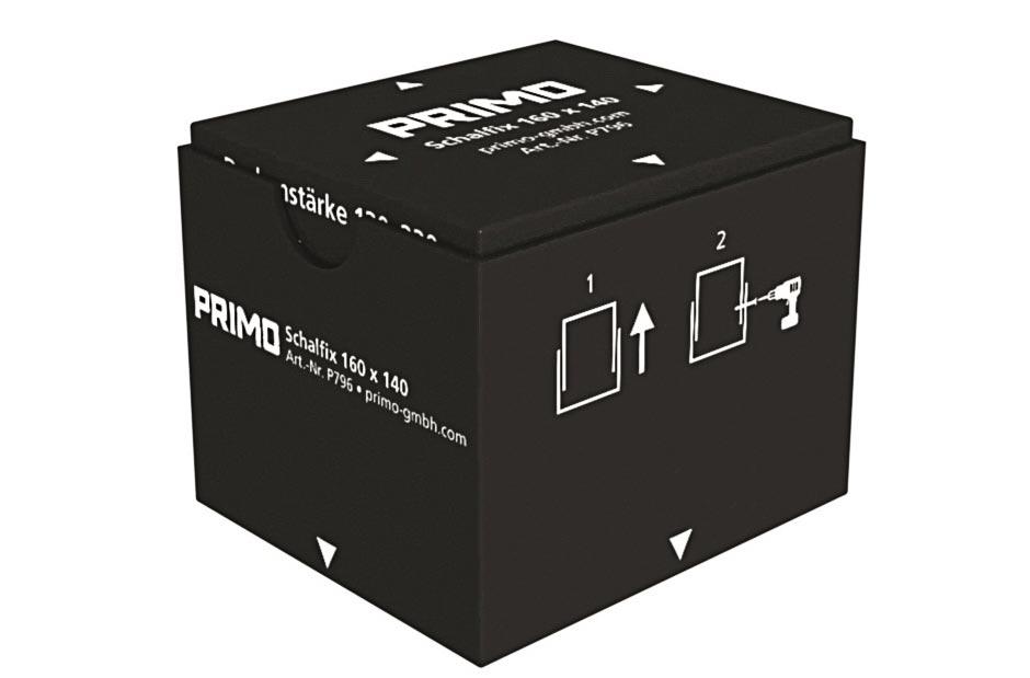 Neu von Primo: Mit dem neuen »Schalfix« können Aussparungen in Betondecken zeit- und kostensparend realisiert und flexibel eingesetzt werden. Holz- oder Styroporschalungen gehört damit der Vergangenheit an.