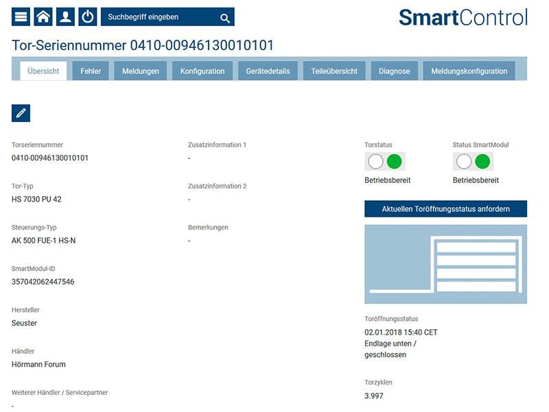 SmartControl vereinfacht die Fehlersuche bei Stö-rungen. Fehlercodes werden automatisch von der Torsteue-rung an das Webportal gesendet und von der Hörmann-Serviceabteilung per Ferndiagnose analysiert. Foto: Hörmann