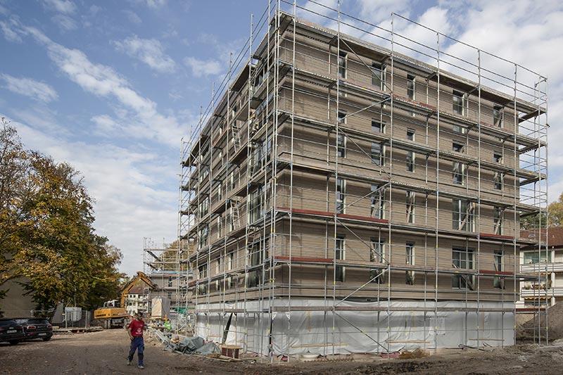 Sechsgeschossiger Hybridbau in Erlangen mit einer Geschossfläche von circa 450 Quadratmetern.  Bild: Dennert