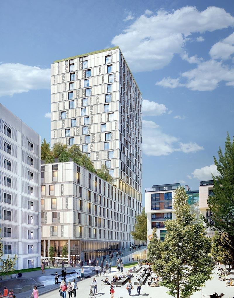 Mit dem Turm am Mailänder Platz entsteht mitten im Europaviertel Stuttgart eine urbane Gästeoase. Bildquelle: RKW Architektur + für STRABAG Real Estate GmbH