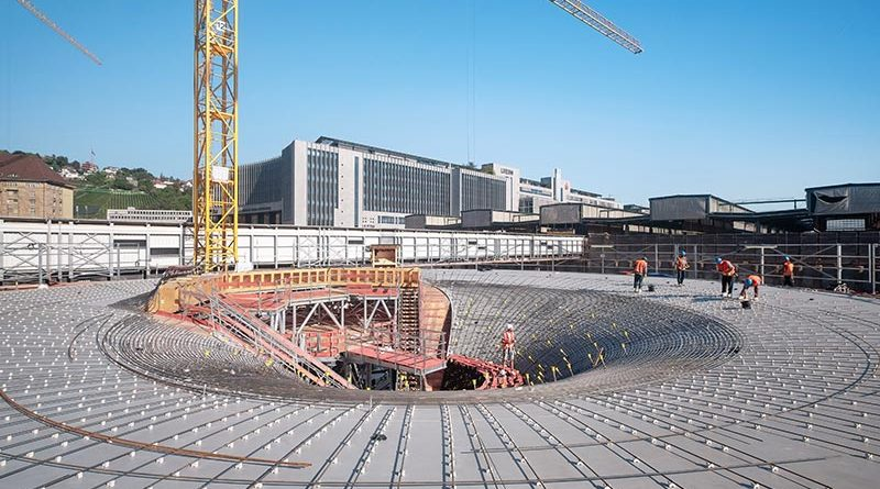 Abstandhalter auf Schalung der ersten Kelchstütze. Bahnprojekt Stuttgart- Ulm, Foto: Achim Birnbaum