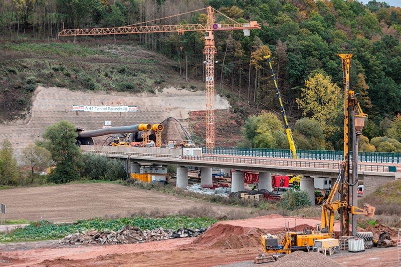 Der nordosthessische Autobahntunnel Boyneburg ist ca. 1,7 km lang und besteht aus zwei Tunnelröhren. Foto: Ed. Züblin AG