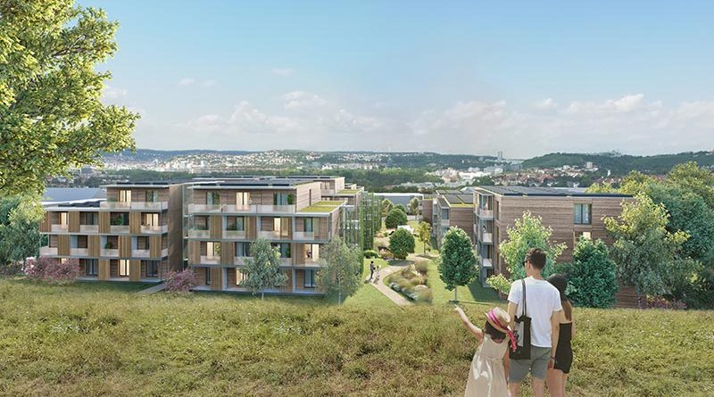 In Stuttgart-Bad Cannstatt entsteht ein nachhaltiges Stadtquartier auf Basis der von Werner Sobek entwickelten und gestalteten Aktivhaus-Module – ein Meilenstein in Sachen nachhaltiges und serielles Bauen. Rendering: Werner Sobek / AH Aktiv-Haus