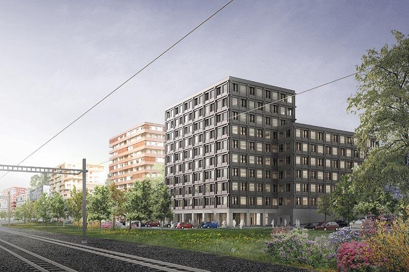 2018 ist das 10-geschossiges Bürogebäude in Risch-Rotkreuz das erste Holzhochhaus der Schweiz. Bildnachweis: ERNE AG Holzbau │ Foto: Markus Bertschi