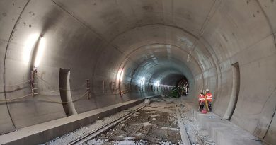 Tunnel in bergmännischer Bauweise mit Gewölbe aus PP-Faserbeton. Foto: LBM Diez