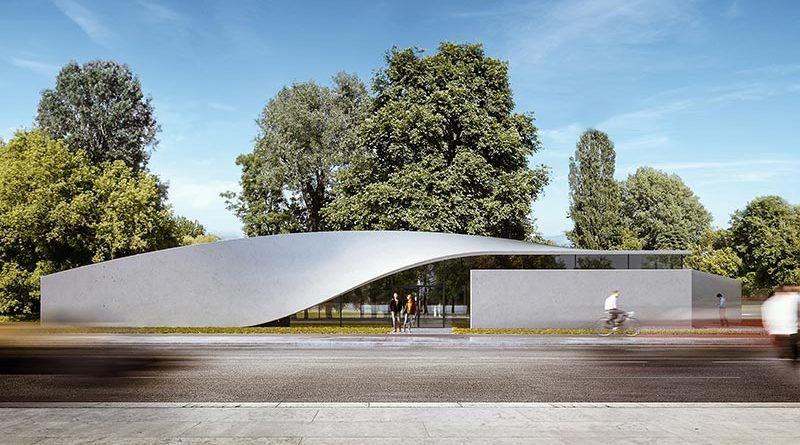 Ein charakteristisches Element des Forschungsgebäudes ist sein Dach. Es verwandelt sich mit einem eleganten Schwung von einer Wand- in eine Dachfläche. Bildquelle: CGI Henn
