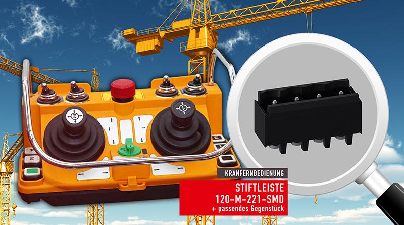 Eingesetzt in Kranfernbedienungen bietet die 120-M-221-SMD-Stiftleiste eine vollständige dynamische Anpassungsfähigkeit an planare Variationen der Leiterplatte und äußerst robuste Lösungen.