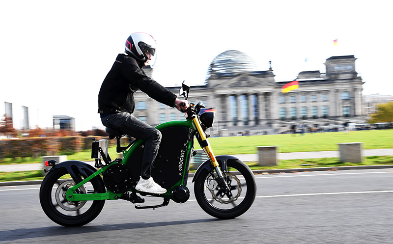 Das eROCKIT ist ein pedalgesteuertes Elektromotorrad